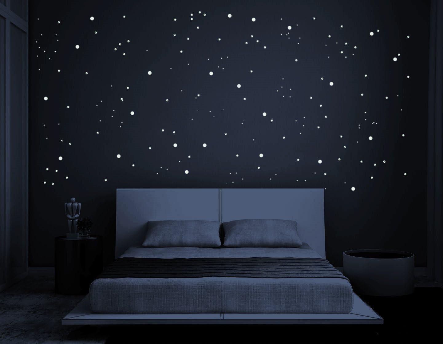 Pegatinas de estrellas luminosas fluorescentes que brillan en la oscuridad hermosas como arte mural o pegatinas de pared para ni/ños y decoraci/ón de dormitorio