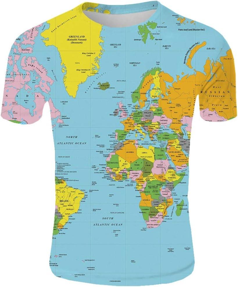 AG&T 2019 Nuevos Hombres Moda 3D Mapa Mundial Impreso Blusa Casual ...