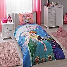 New Licensed 100% Cotton Disney Frozen Elsa & Anna Duvet Cover Set Twin Size / Disney Frozen Elsa Single Duvet Cover Set / Frozen Elsa Bedding Set 3 PCS