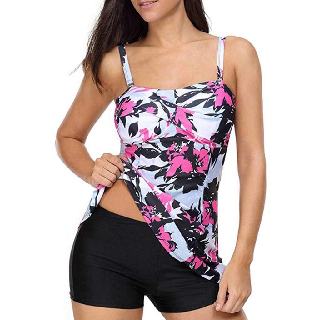 Rambling Women Tankini Swimwear Floral Retro Printed Swimsuit with Boyshorts