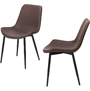 Juego de 4 sillas estilo escandinavo retro, sillas de comedor, piel ...