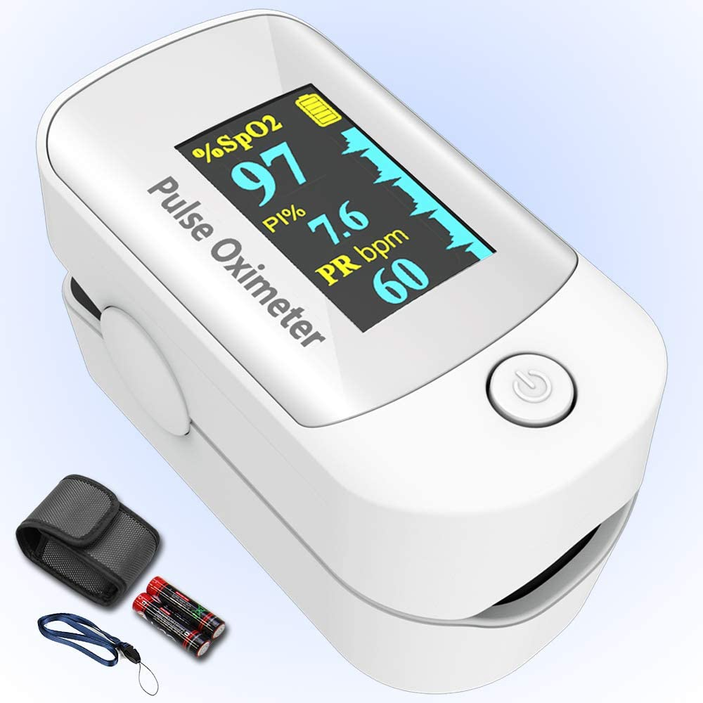Pulse oximeter fingertip with Plethysmograph and Perfusion Index, Portable Blood Oxygen Saturation Monitor for Heart Rate and SpO2 Level, O2 Monitor Finger for Oxygen,Pulse Ox,Oximetro, (White)