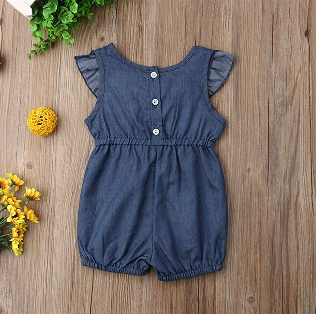 Athletic Undershirts Tee Toddler Baby Shorts Bodysuit Jumpsuit Sleeveless Jeans Girls Piece Summer Outfits Denim Romper One Ruffles