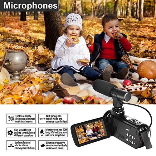 Camcorder Digital Video Camera Full HD 1080P 30FPS Vlogging Camera Pause Function With External Microphone and Remote Control