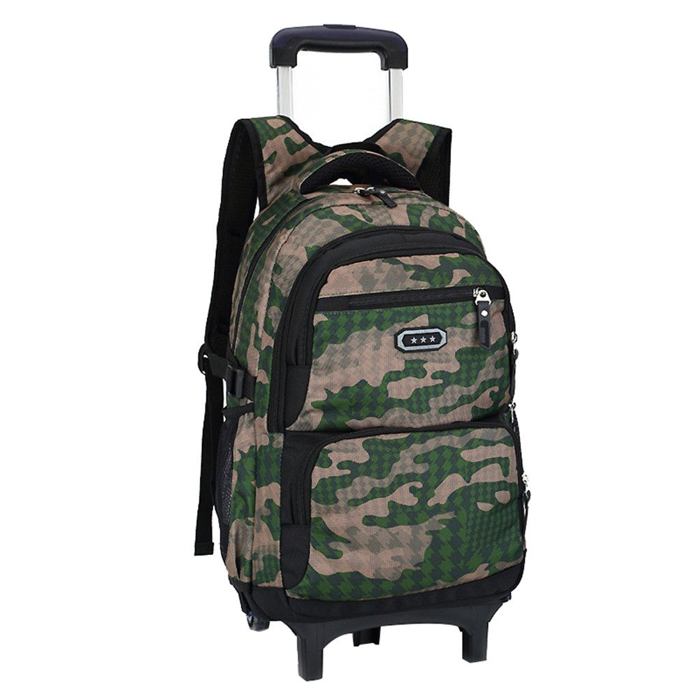 Fanci Flora Camo Waterproof Elementary Rolling Trolley School Bag Backpack for Boys Camouflage Wheeled Backpack Carry on Luggage With Two Wheels