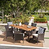 Great Deal Furniture Sernos | 7 Piece Outdoor Dining Set | Wood Table | Wicker Dining Chairs with Cushions | in Multibrown with Teak Finish