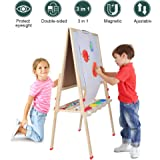 Kids Easel for Two 3 in 1 Children Easel, Children's Paint and Drawing Artist Easel, Height Adjustable Double Sided Easel and Accessories
