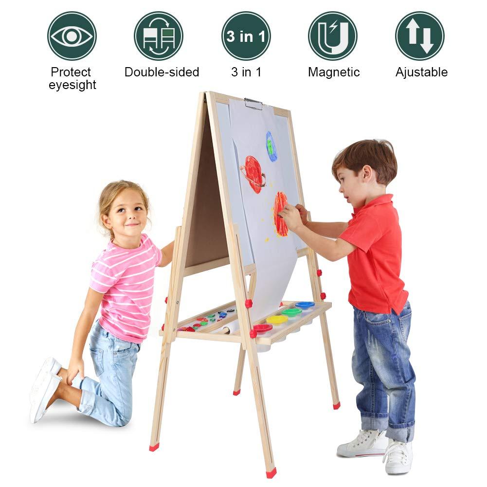 多目的子供用アートイーゼル 調節可能 木製 オールインワン 子供用 アートイーゼル 両面ホワイトボード ペーパーロール マグネットアルファベットと数字   B07RMDKJDL