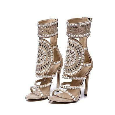 18609935a0061 Fanessy Femme Escarpins Sandales d été Mode Sexy Chaussure Romaine à Talons  Hauts 11 cm