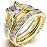 FENDINA Womens 18K Yellow Gold Plated Wedding Engagement Ring Set Created Emerald Cut Diamond Best Enternity Promise Rings for Her-6