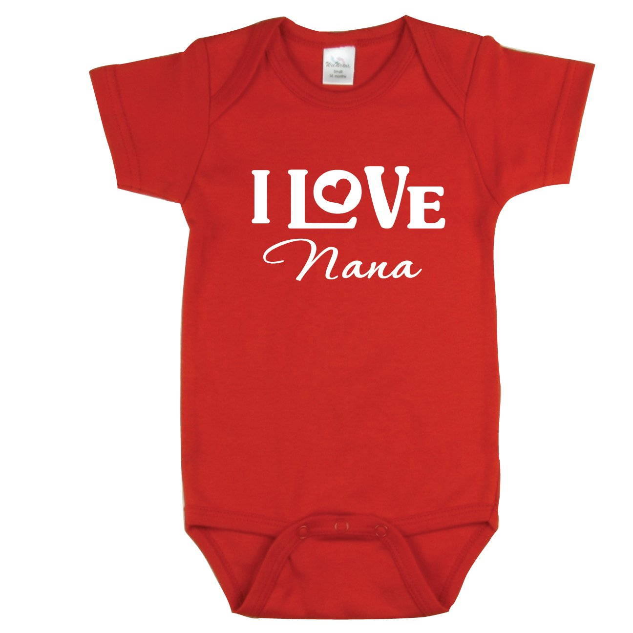 I Love My Nana Bodysuit, Adorable Baby Outfit, Red 0-3 mo