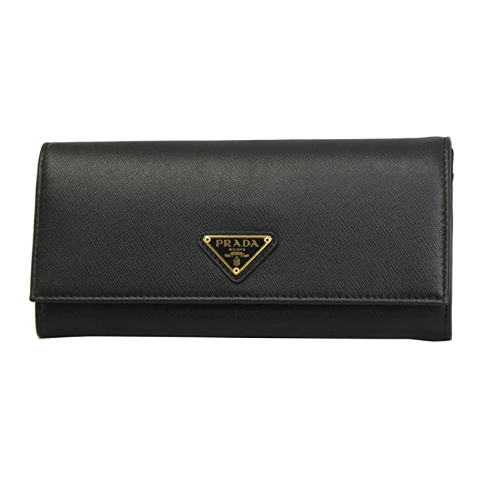 21d263423d5f Prada Saffiano Triangle Flap Wallet with Badge Holder Black: Amazon.ca:  Clothing & Accessories