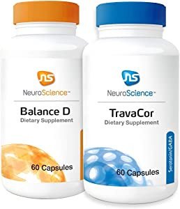 NeuroScience Mood, Memory + Calm Support Set - Balance D + TravaCor (2 Products, 60 Capsules Each)