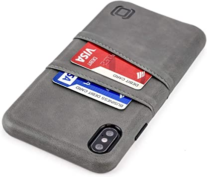 Dockem Étui portefeuille pour iPhone Xs Max : plaque métallique intégrée pour montage magnétique et 2 porte-cartes de crédit (Exec M2, cuir ...