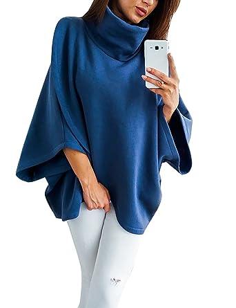 1ba0f196703e Yieune Pullover Damen Oversized Pullis Hoher Kragen Langarm Winter  Fledermausärmel Kuscheljacke (Blau S)