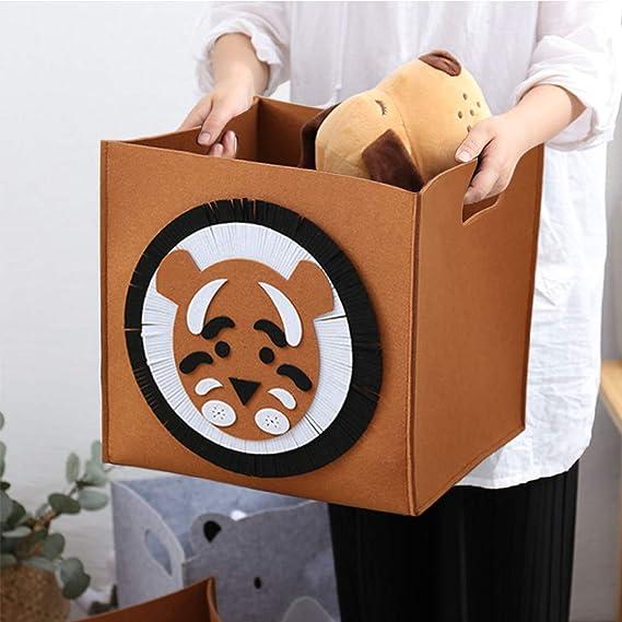 OYHOMO Faltbare Aufbewahrungsbox Kinderzimmer Filz Aufbewahrungskorb Kinder Spielzeugkiste Quadratischer Filzkorb Faltbox Tiere Filztasche L/öwe