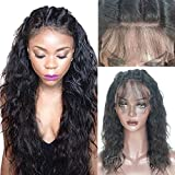 Full Lace Human Hair Wigs with Baby Hair for Black Women Glueless Brazilian Hair Wigs Water Wave 130% Density Natural Color 16inch