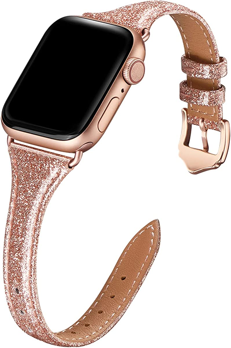 WFEAGL Leather Bands Compatible with Apple Watch 42mm 44mm, Top Grain Leather Band Slim & Thin Replacement Wristband for iWatch Series 5/4/3/2/1 Women Men