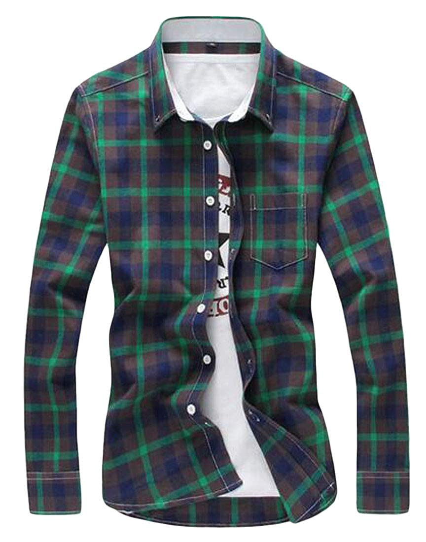 Fubotevic Men Casual Business Slim Fit Long Sleeve Plaid Print Button Down Dress Shirt