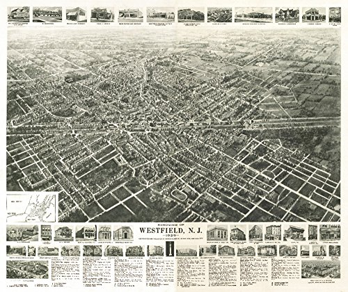 Westfield, New Jersey - Panoramic Map (16x24 Fine Art Giclee Gallery Print, Home Wall Decor Artwork - Panoramic Map Nj