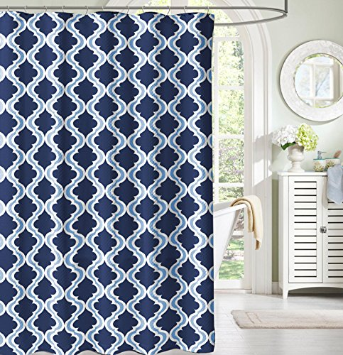 Navy and Light Blue White Moroccan Fabric Shower Curtain: Crestlake Elegance (Navy Blue Fabric Shower Curtain)