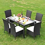 BeAllure Dinning Sets Outdoor Rattan Furniture Dinning Table Chairs With Cotton Cushions 7 Piece Set Black
