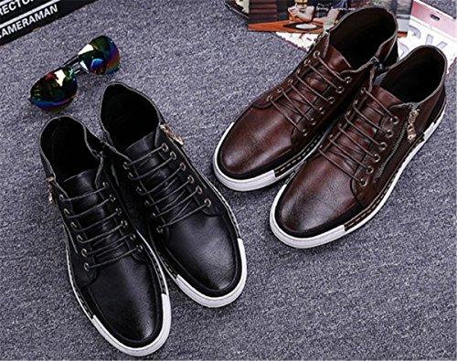 Sneakers In Pelle Casual Mens Bininbox Scarpe Da Ginnastica Sportive Traspiranti High-top Running Vintage Marrone
