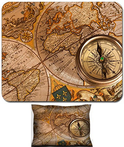 (Luxlady Mouse Wrist Rest and Small Mousepad Set, 2pc Wrist Support design Vintage Old Map and Compass Concepts IMAGE:)