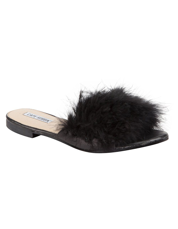 CAPE ROBBIN Womens Sandal-1 Faux Fur Slide Sandals Black 8 B(M) US