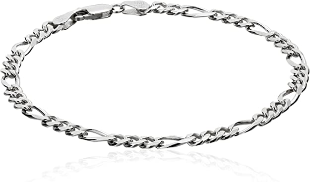 Sterling Silver Thick Heavy 8mm Wide Figaro Chain Anklet Necklace Bracelet 220
