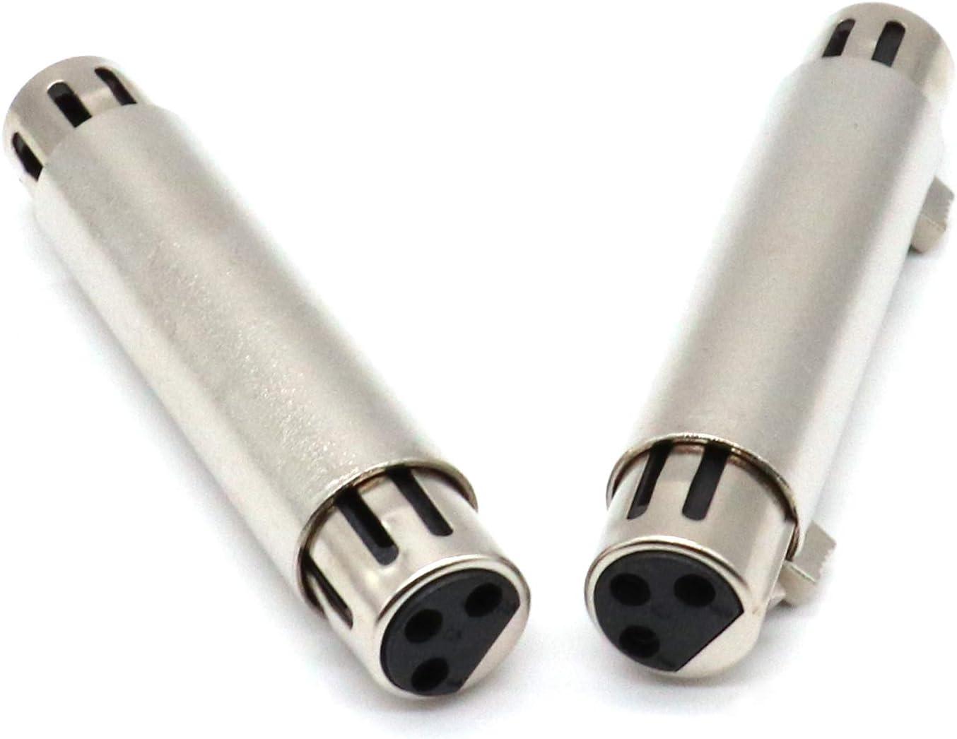 extensi/ón de barril de micr/ófono paquete de 2 XLRF Adaptador de micr/ófono de audio de metal de 3 pines para trabajo pesado Adaptador SiYear XLR hembra a XLR hembra