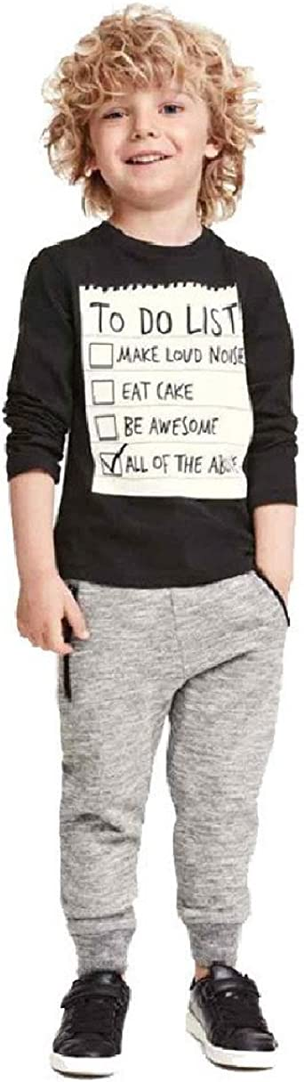 SMARTLADY 1 Conjunto Niño Chicos Moda Blusa Camiseta Negra Hermosa + Gris Pantalones Casuales