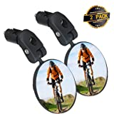 SGODDE Bike Mirror, 2pcs Bicycle Cycling Rear View Mirrors, Safe Rearview Mirror, Adjustable Handlebar Mounted Plastic…