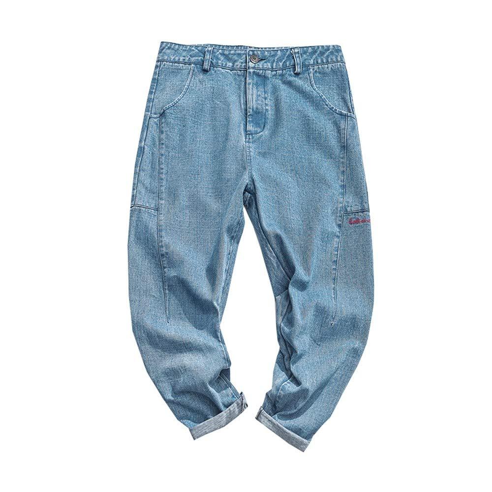 EVEORSSRA Jeanshosen Herbst Hosen Retro Wash Hosen Lose Niedrig Haren Hosen Füße Casual Jeans Männer