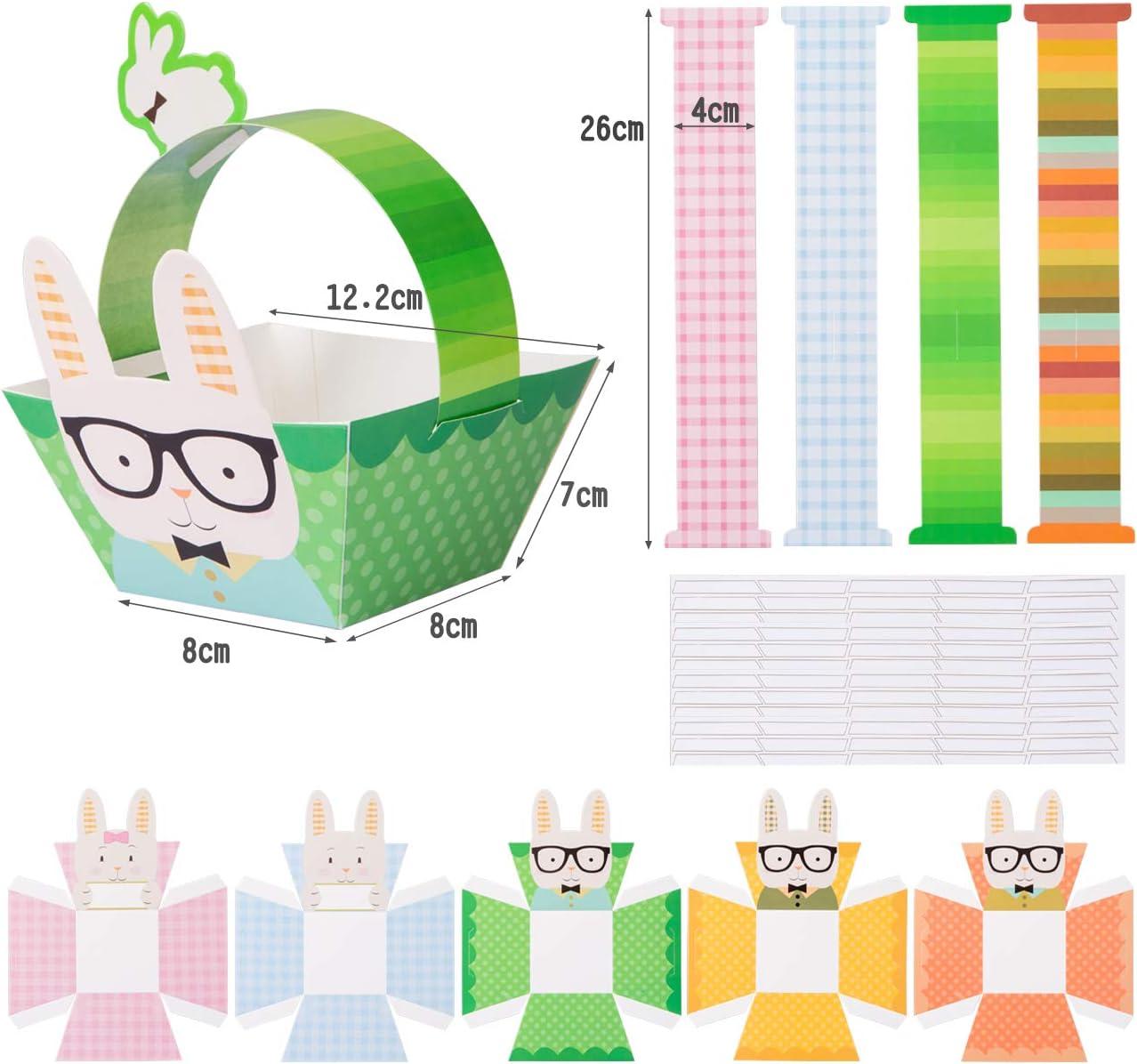 Paniers Cadeaux de P/âques Kit de Loisirs Cr/éatifs DIY pour Enfant Naler Lot de 10 pcs Paniers de P/âques Panier /œufs pour P/âques Lapin Poulet