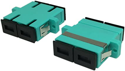Green,2-Pack CERRXIAN LC Duplex OM3 Fiber Optic Adapter LC Female to LC Female 10GB Network Internet Duple Single Mode Multimode Fiber Optical Coupler Connector Adapter with Mount Panel