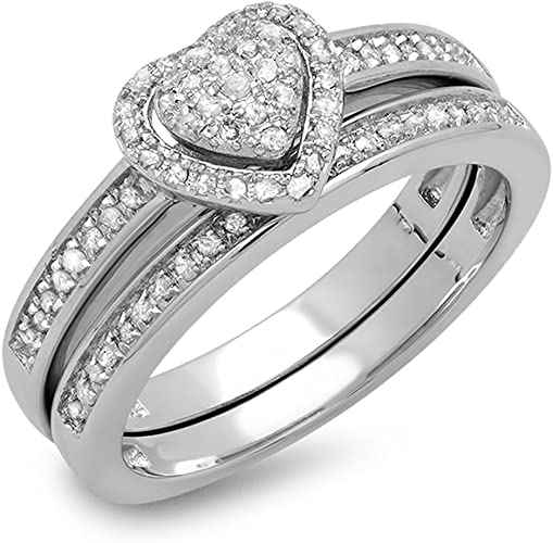 Size-5 G-H,I2-I3 3 Diamond Promise Ring in 10K Pink Gold 1//20 cttw,