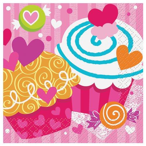 Cupcake Hearts Valentines Beverage Napkins