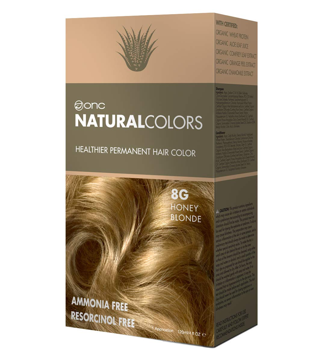 ONC NATURALCOLORS 8G Honey Blonde Healthier Permanent Hair Color Dye 4 fl. oz. (120 mL) with Certified Organic Ingredients, Ammonia-free, Resorcinol-free, Paraben-free, Low pH, Salon Quality, Easy to by ONC NATURALCOLORS