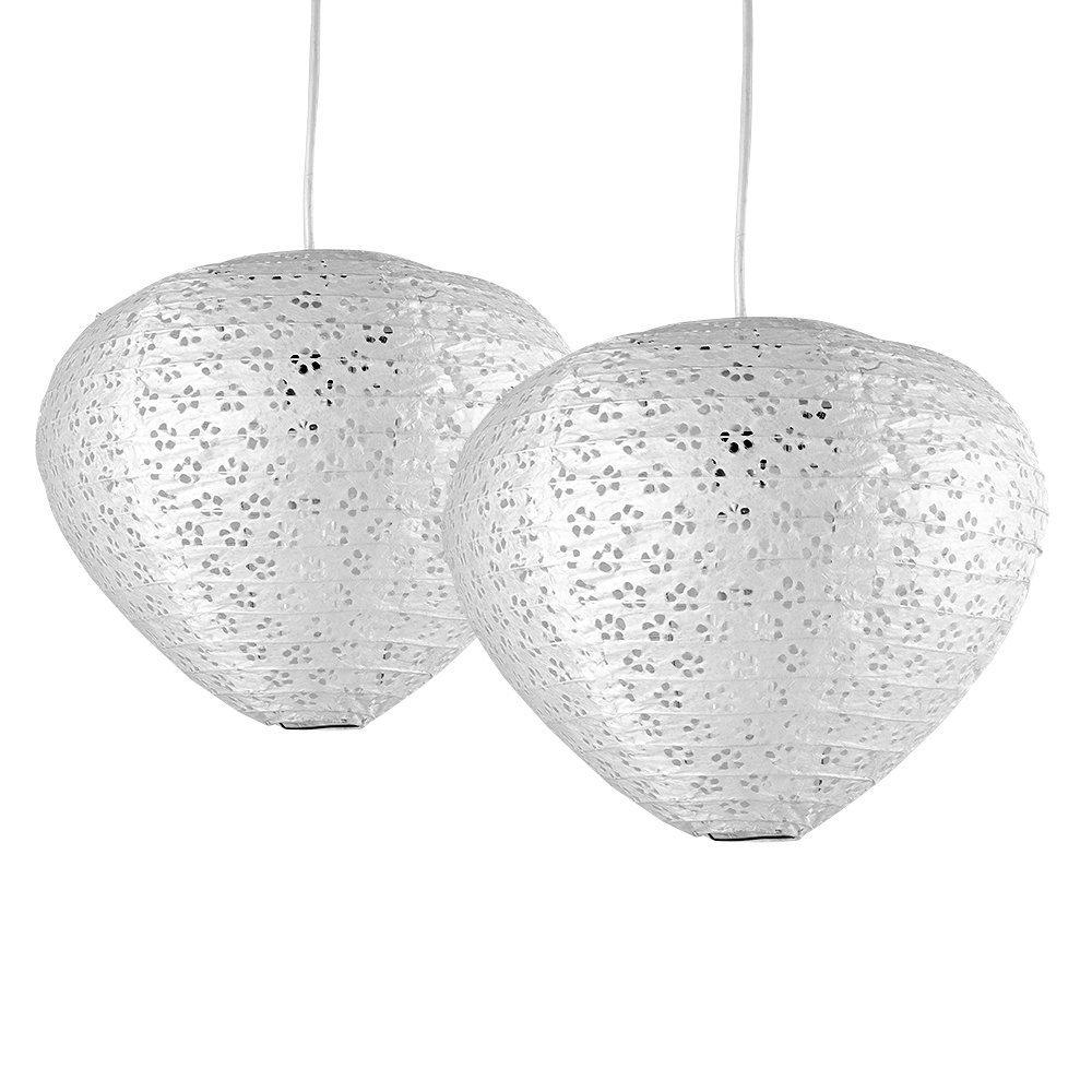 MiniSun Paire (2 x) Lampions - Abat Jours Modernes. Aspect Ruche Chinoise. PLECTRE en Papier Brut Blanche Perforé avec Motifs Fleurs