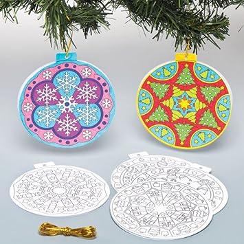 Baker Ross Cartoncini Mandala Con Palline Di Natale Da Colorare Per