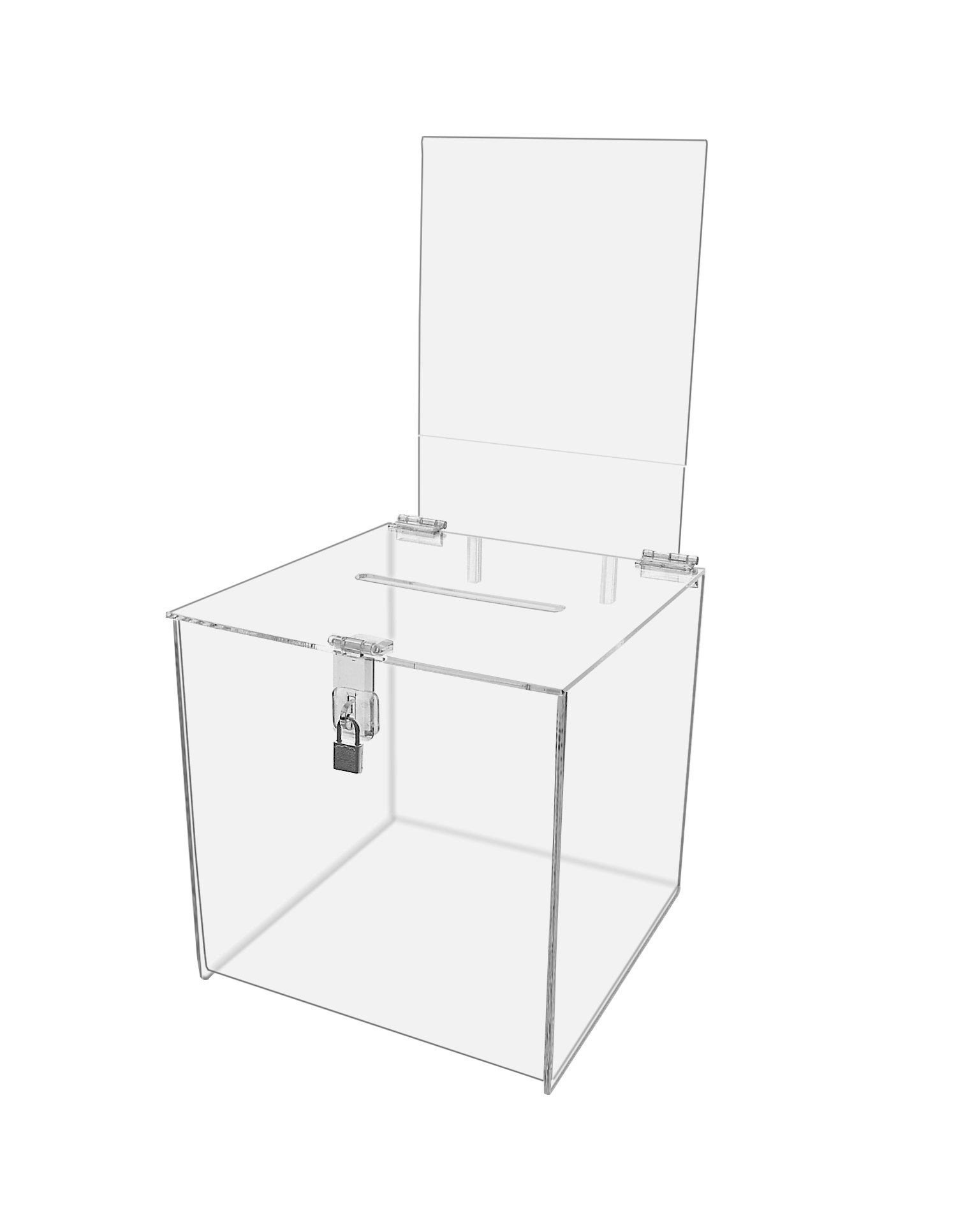 Marketing Holders Contest Cube Premium Plastic Locking Ballot Box With Sign Holder and Lock For Suggestions, Votes, and Donations 10'' x 10'' Pack of 2