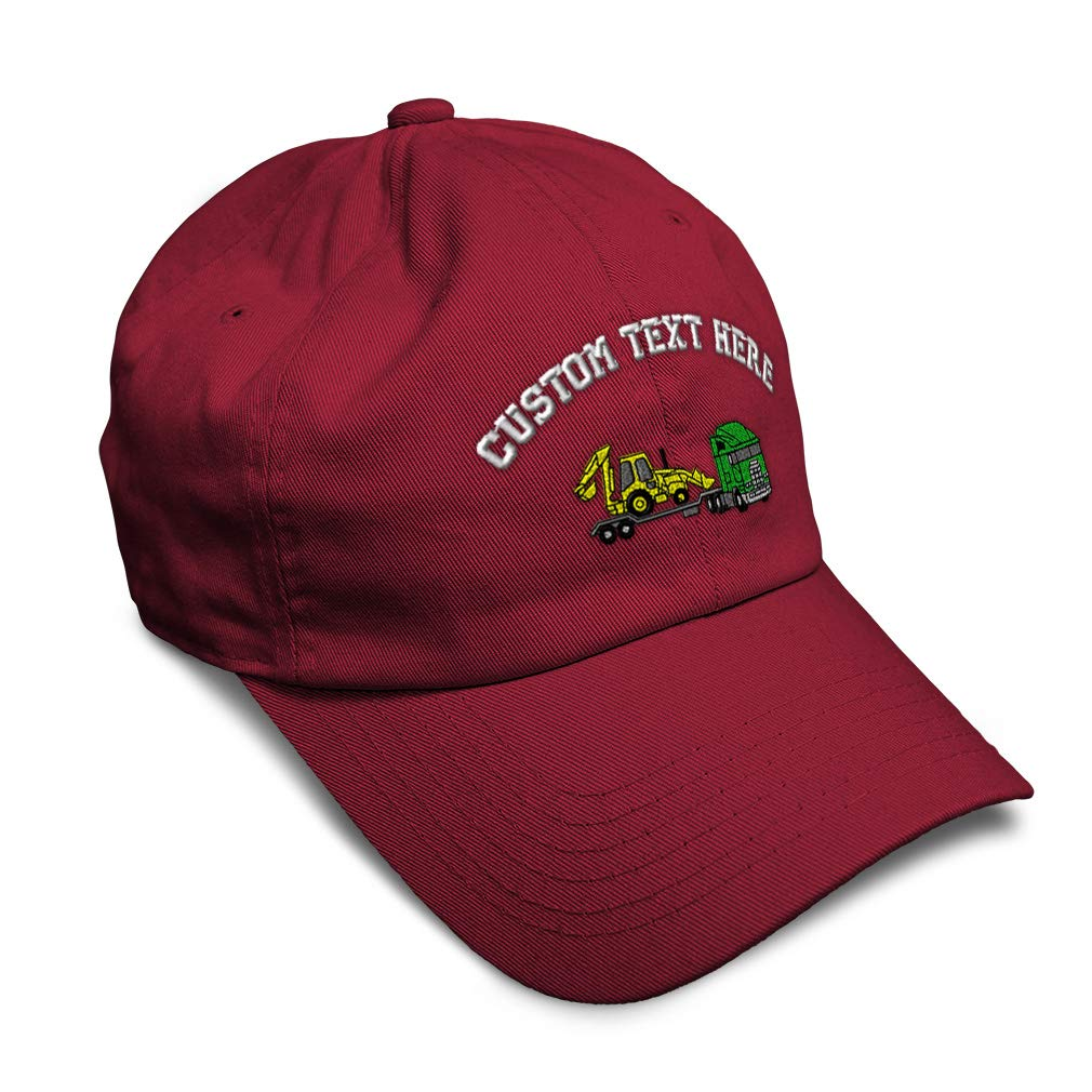 Custom Soft Baseball Cap Tractor with Lowboy Embroidery Dad Hats for Men /& Women