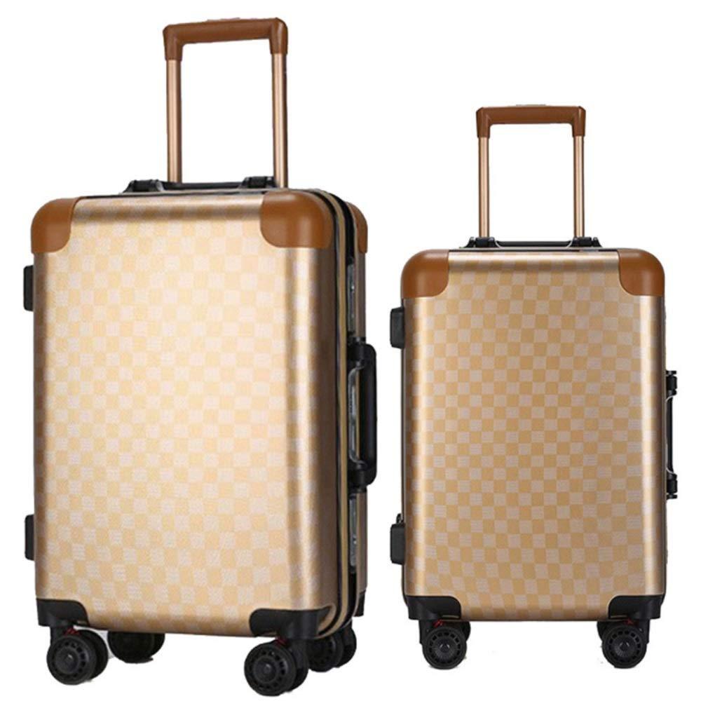 スーツケース ロータリーローディングスーツケースバッグトロリーポータブルキャリーオンコラムサイレントローテーター多方向ホイールフライト搭乗 あなたとスーツケースを持っていく (色 : ゴールド, サイズ : 20in+24in) B07SYP736R ゴールド 20in+24in