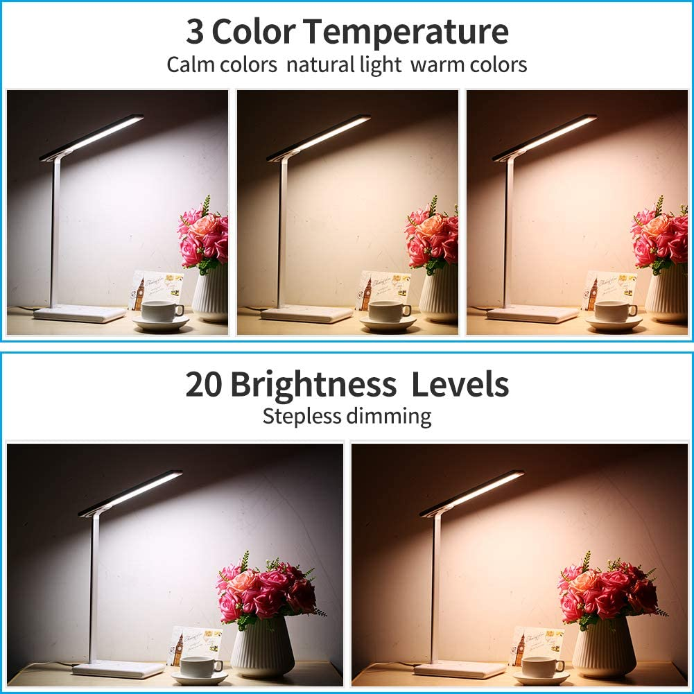 Led Desk Lamp Dimmable Table Lamp with Fast Wireless Charger 1H 2H Timer Table Lamp Smart Touch Eye-Caring Automatic Timing 3 Lighting Modes and 0-100 dimming