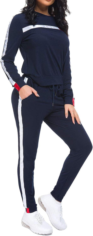 Lange Marine, L MINTLIMIT Trainingsanzug Damen 2 St/ück Outfit Kurze /Ärmel Streifen Jogginganzug Frauen Tracksuit Top T-Shirt Lange Hose Beil/äufig Sport