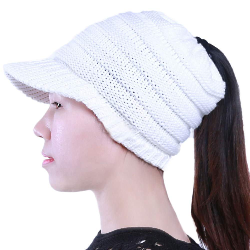 11144d7062a Ababalaya Womens Girls Winter Warm Knit Bun Ponytail Hole Visor Beanies Ski Skull  Cap