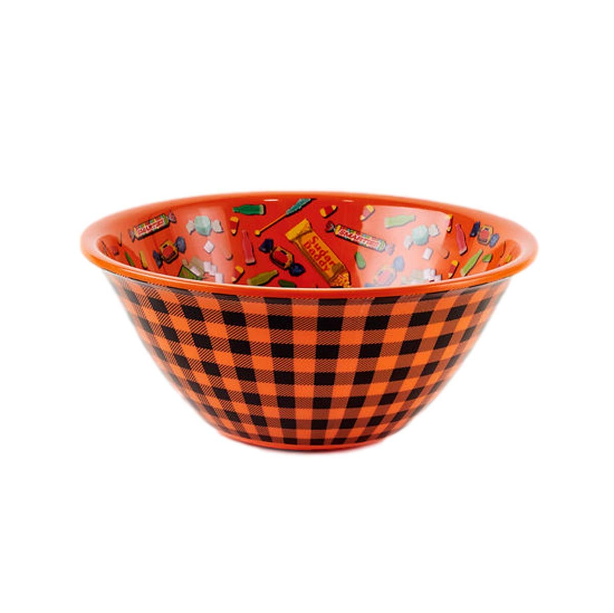 One Hundred 80 Degrees Orange and Black Plaid 14'' Candy Bowl