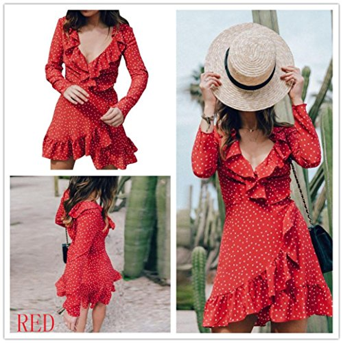 V Bodycon Kleid Party Damen Top Bluse Rot Langarm Kleid Dots Polka Frauen Kleid Kleider Festlich Vintage Strandkleid Kolylong® Ausschnitt Chiffon Sommer Kleid Abendkleid Mini Elegant qAxwHfnUI7