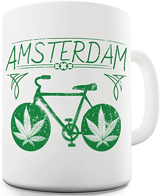 TWISTED ENVY Divertido Taza de café Amsterdam Weed Bike cerámica ...